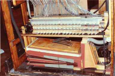 Rear view of the lower interior of the Wurlitzer Style 16 PianOrchestra.
