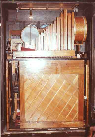 Rear view of the interior of the Wurlitzer Style 16 PianOrchestra.