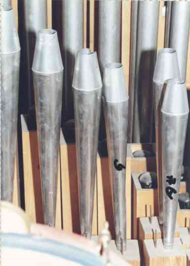 Close-up of the saxophone (fagott) pipes in the bass pipe chest.