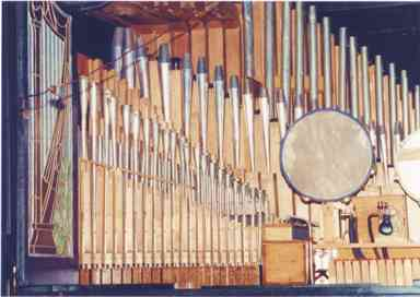 Interior view of the upper left side of the Wurlitzer Style 32 Concert PianOrchestra.