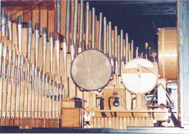 Interior view of the upper right side of the Wurlitzer Style 32 Concert PianOrchestra.