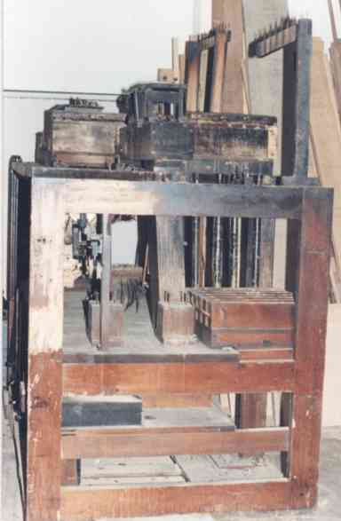 End view of the PianOrchestra's  fire damaged main chassis.