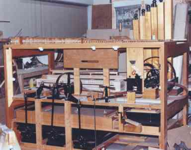The PianOrchestra's partially assembled and rebuilt main chassis is shown taking shape.