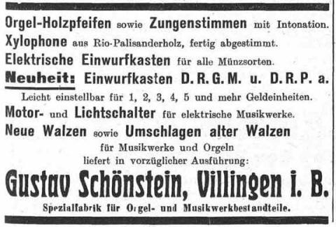 Gustav Schonstein 1920 advertisement.