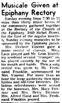 Newspaper article about a musical given at the Epiphany Church Rectory.