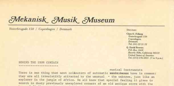 "Mekanisk Musik Museum Letterhead and beginning of the story ""Behind the Iron Curtain."""