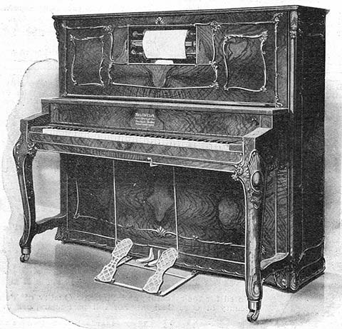 Apollo Style Louis XIV upright player piano.