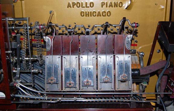 Air motor installed in an Art Apollo Expression Piano, circa 1916.