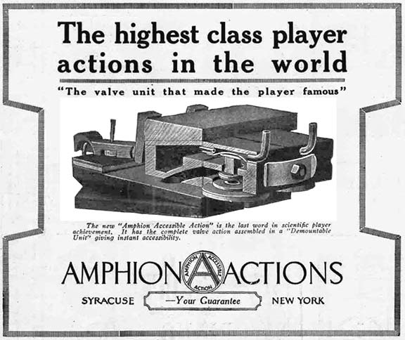 The Amphion Action as advertised in a 1918 issue of the Music Trade Review.