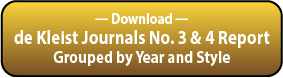 Download the deKleist Journals Grouped by Year and Style Report.