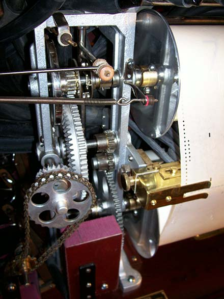 Roll frame geared transmission in a Tangley C-A 43 Calliaphone.