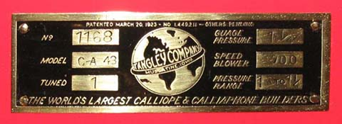 Nameplate for Tangley C-A 43 Calliaphone #1168.