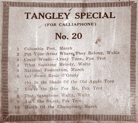 Tangley Special music roll #20.
