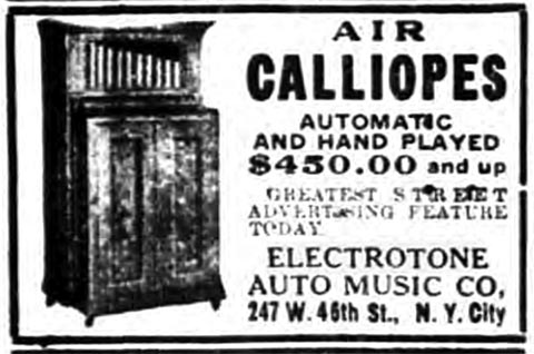 1922 Electrotone Air Calliope advertisement.