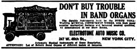 1920 Electrotone advertisement for band organs.