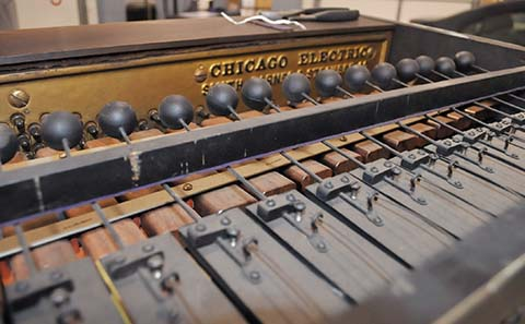 Xylophone in the Chicago Electric Model Casino cabinet piano.