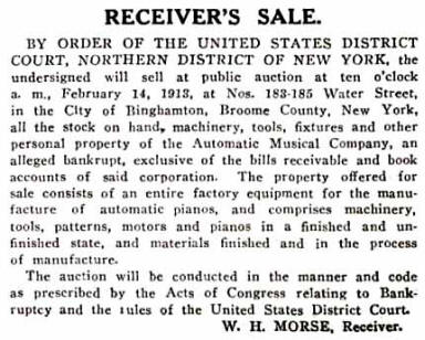 The Music Trade Review announcement of the February 14, 1913, Receiver's Sale for the Automatic Musical Company's assets.