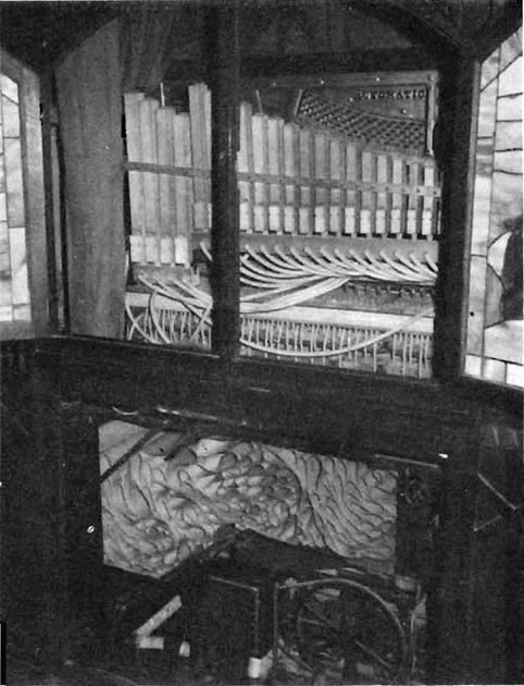 Interior of the Marcola cabinet style flute piano.