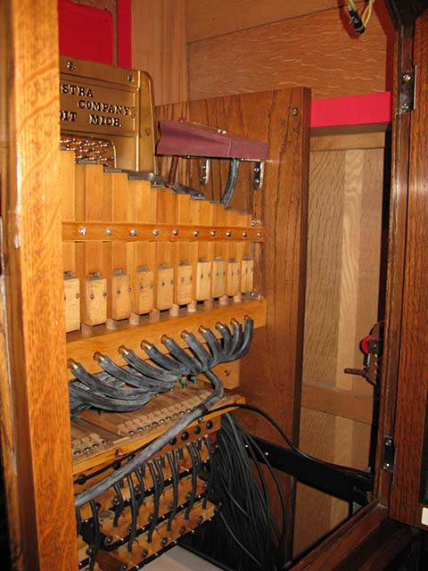 Treble pipes in the Marcola cabinet style flute piano.