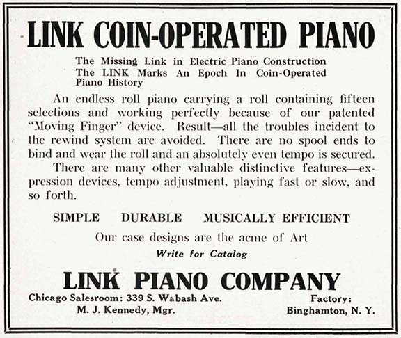 Link advertisement in the January 31, 1914, edition of The Music Trade Review.
