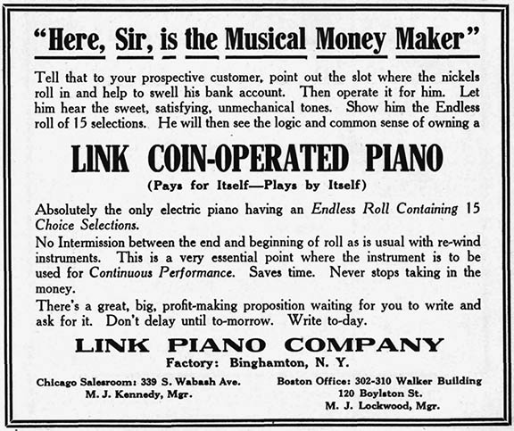 Link advertisement in the July 25, 1914, edition of The Music Trade Review.
