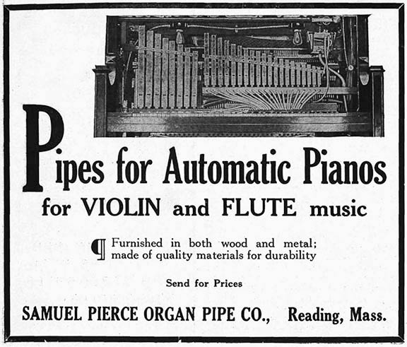 1914 Advertisement for Pipes for Automatic Pianos.