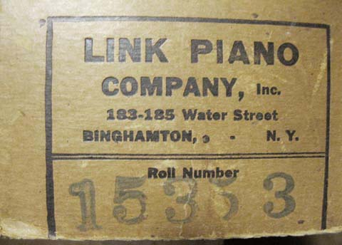 "Box end label for Link Style ""RX"" endless music roll #15353."