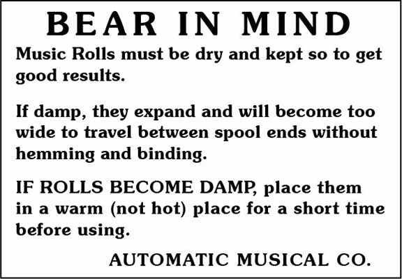 Automatic Musical Company music roll warning label.