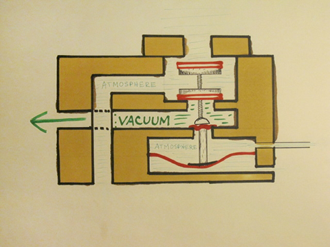 Reverse valve drawing showing valve in the closed or rest position.