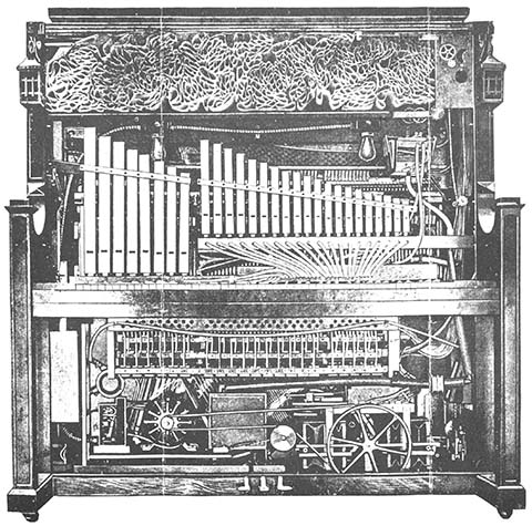 Cutaway of pipes in a Link Style R Coin Piano.