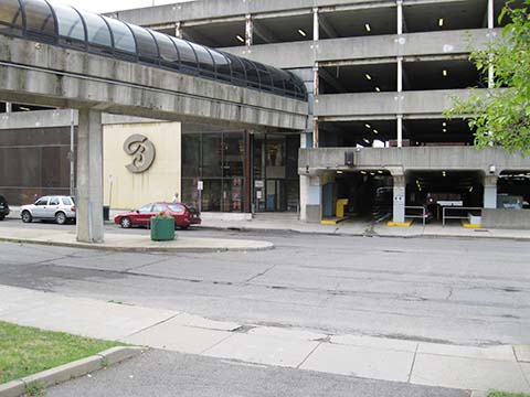 A parking garage at 183-185 Water Street, the former Link factory site.