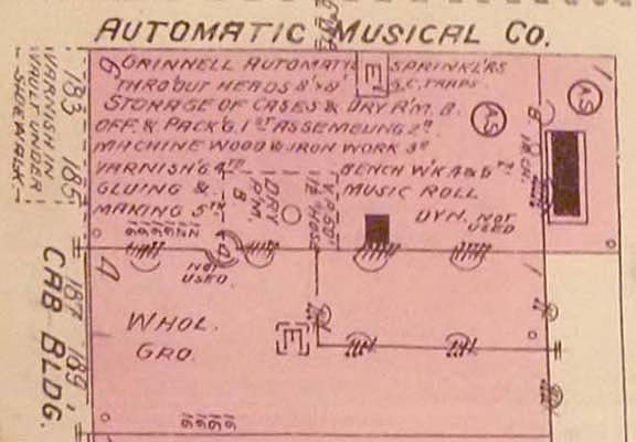 Section of Sanborn Fire Map of the Automatic Musical Company's factory buidling.