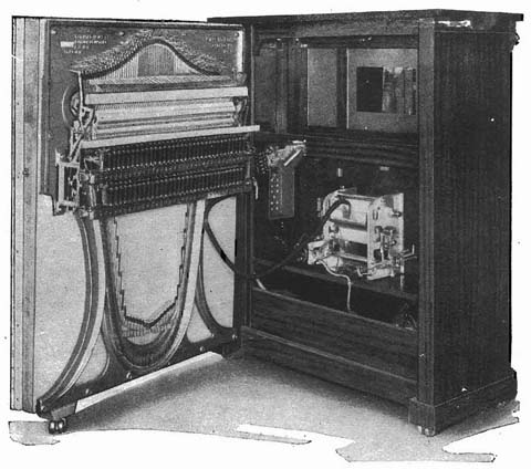 Mills Violano-Virtuoso with the back open showing the symmetrical piano.