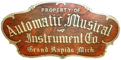 Automatic Musical Instrument Company fallboard logo - circa 1925.
