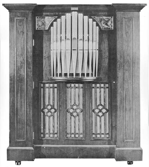 Catalogue illustration of a cabinet style Reproduco player organ.