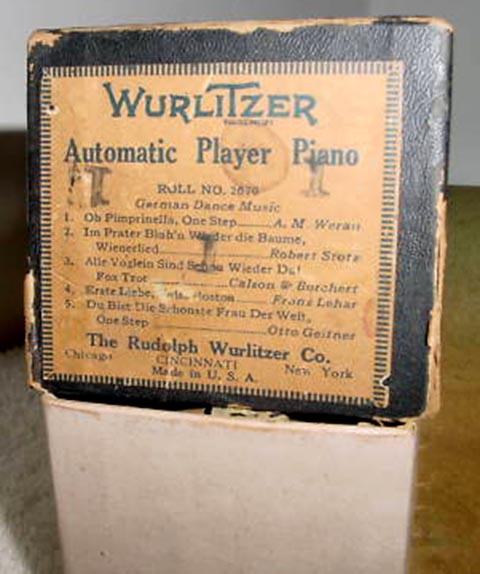 Photograph of a Wurlitzer Box Label for APP music roll #2670.