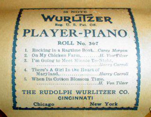 Wurlitzer APP music roll #367, with the roll label clearly and fully readable.