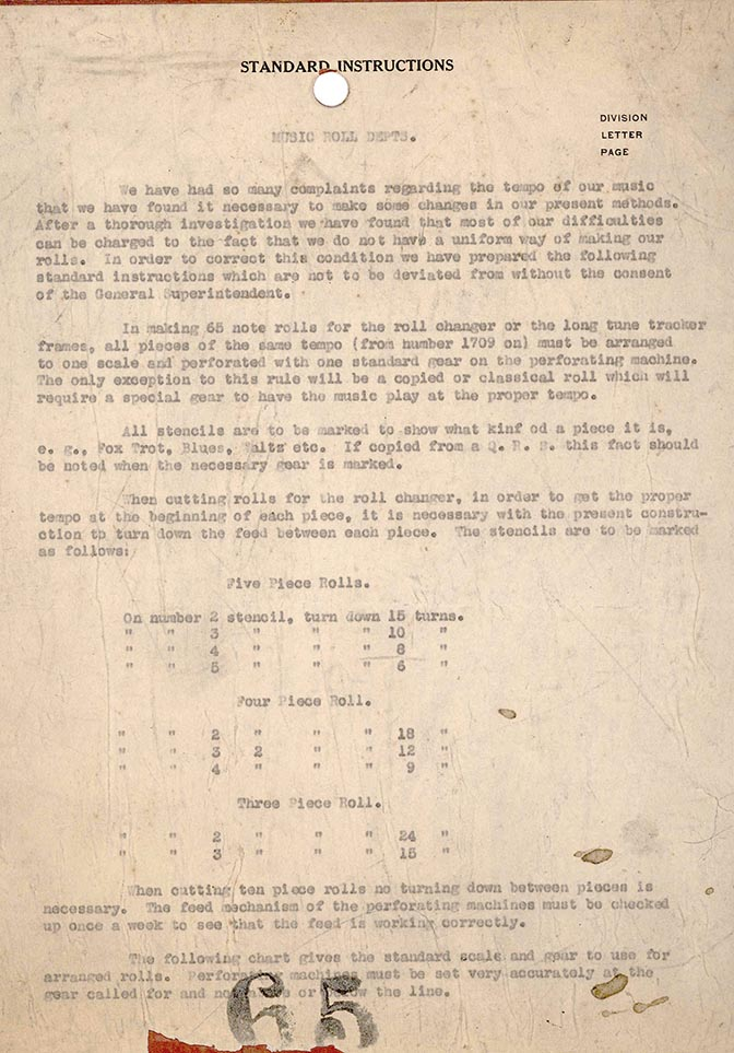 Music Roll Dept. Standard Instructions, page 1, circa 1923.