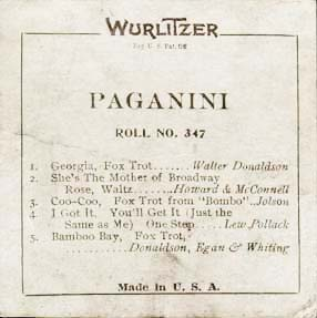 Label for Wurlitzer cut Paganini roll #347.