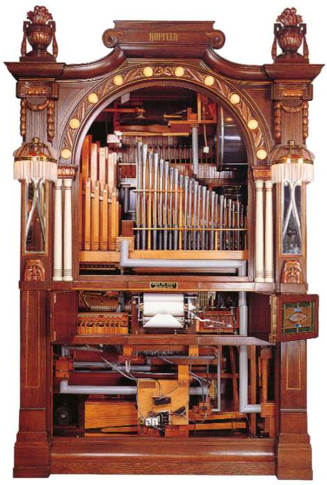 Hupfeld Helios II/25 Orchestrion, with the case front removed to show the interior mechanisms (Krughoff Collection).